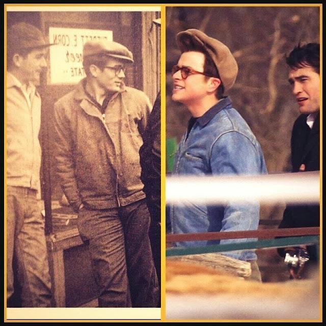 """3 Marzo - Fotos originales de James Dean y Dennis Stock (en 1955) comparadas con Rob y Dane película """"Life""""!!! 9194"""