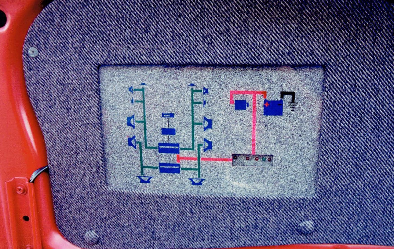 Photo of the system diagram under the truck lid in Alberto A Lopez's 1991 Red NIssan Sentra