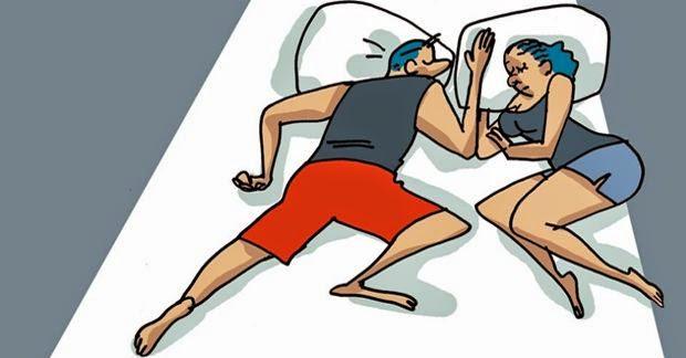 Essa não é uma posição boa para o casal, de acordo com especialistas, a pessoa espaçosa na cama não demonstra afeto por seu (a) parceiro (a).