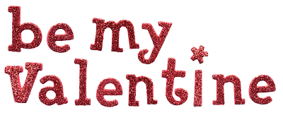 red glitter be my valentine header for digital scrapbooking in png transpartent format free download