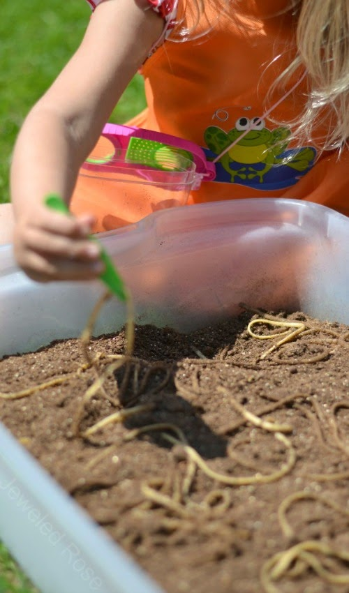 "Digging for ""worms"" - a fun activity that will have the kids laughing and screeching"