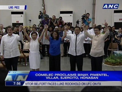 comelec proclaims binay, pimentel,villar, ejercito and honasan
