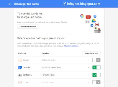 Descargar tus datos de Google