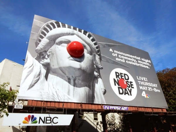 Special Red Nose Day Statue of Liberty billboard
