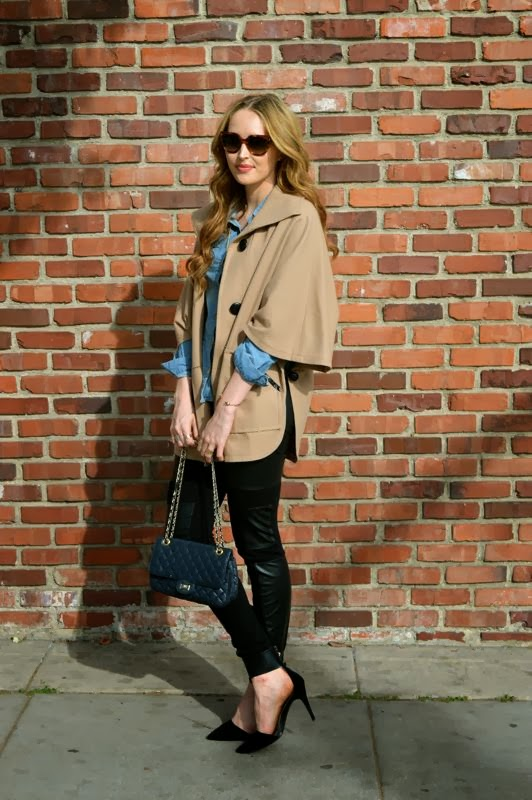 Nordstrom Cape- Chambray Shirt- How To Style A Chambray Shirt- BCBG Leggings- Zara heels-Prada Sunglasses-Ashley Murphy