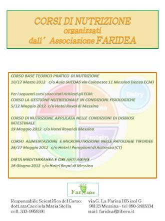 CORSI DI NUTRIZIONE - Associazione FARIDEA di Messina