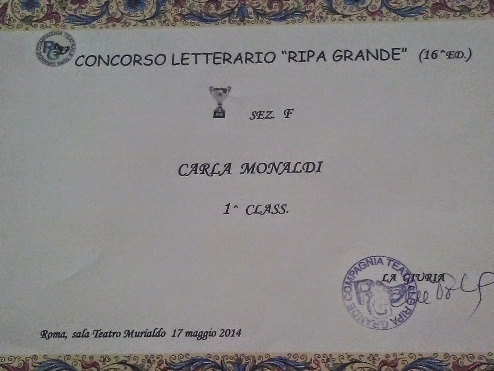"""Primo premio Concorso letterario Ripa Grande 2014 per il racconto """"Il Mascheraio misantropo"""""""