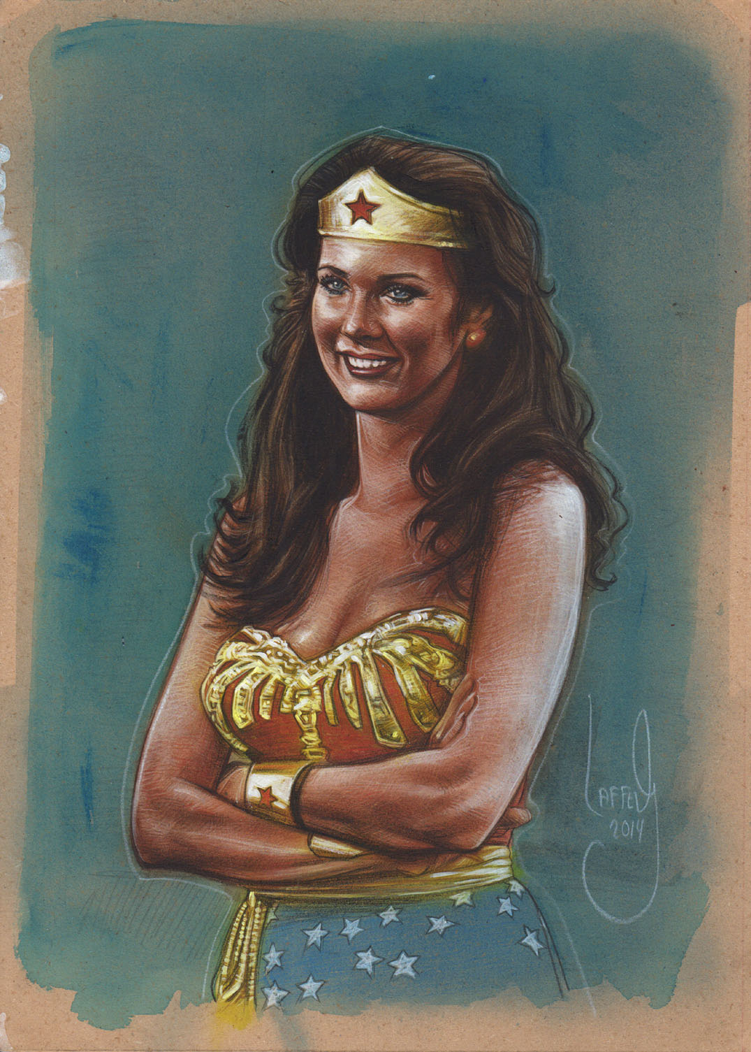 Lynda Carter as Wonder Woman, Artwork is Copyright © 2014 Jeff Lafferty