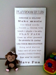 Handmade playroom rules ink transfer art | A Crafty Wife