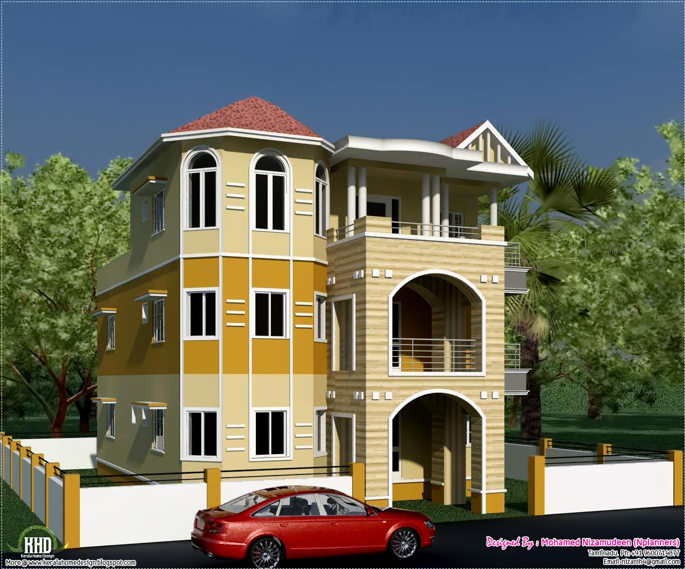 eco friendly houses 3 storey South Indian house design