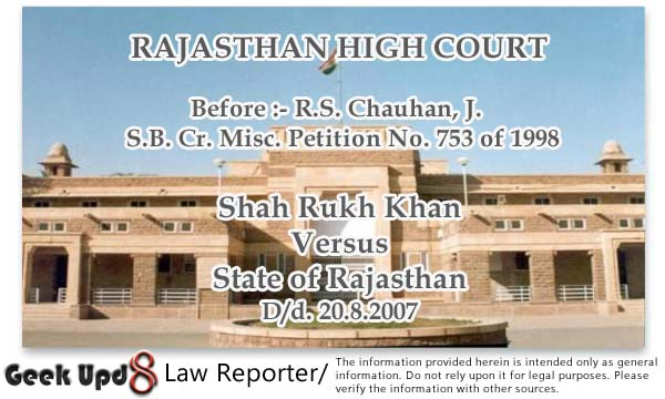 Bollywood Actor Shah Rukh Khan's old Defamatory Case against Lawyers - Rajasthan High Court