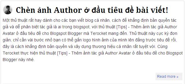 hiển thị ảnh tác giả ở đầu bài viết cho blogger