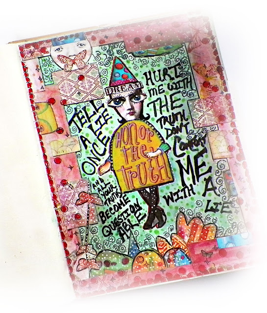 "Collage style art journal  by Lisa Novogrodski using the Scraps of Elegance kit ""Tiffanys Style"""