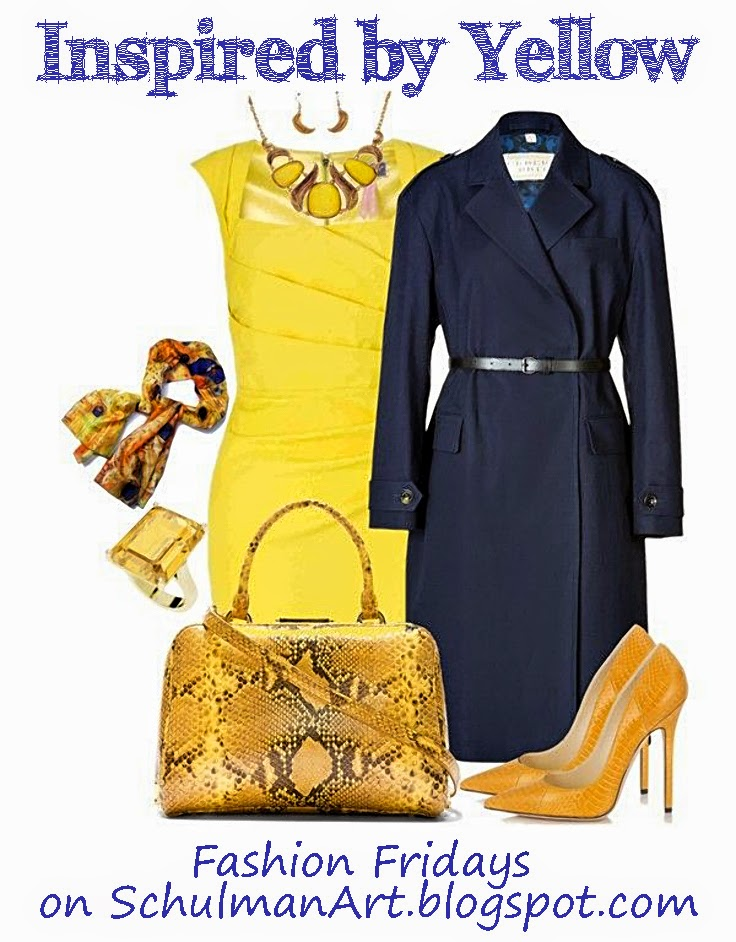 #ootd yellow with navy fashion trends on http://schulmanart.blogspot.com/2014/09/fall-color-trends-pair-yellow-with-navy.html