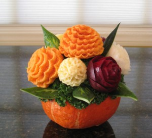 vegetables carved into bouquet