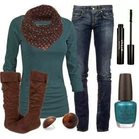 Adorable volka dot scarf, blouse, jeans, long warm boots and eye makeup set for fall
