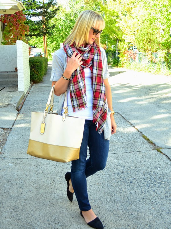 what to wear traveling, scarf, fashion blog, style blog, jeans, tote bag
