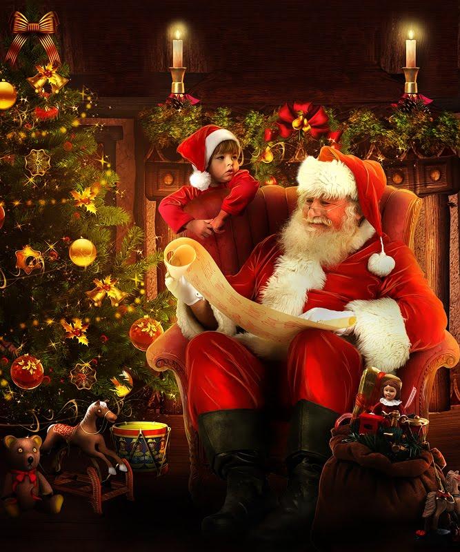 Santa Claus leyendo la lista de regalos para los niños
