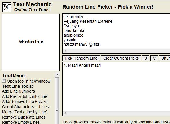 pemenang giveaway