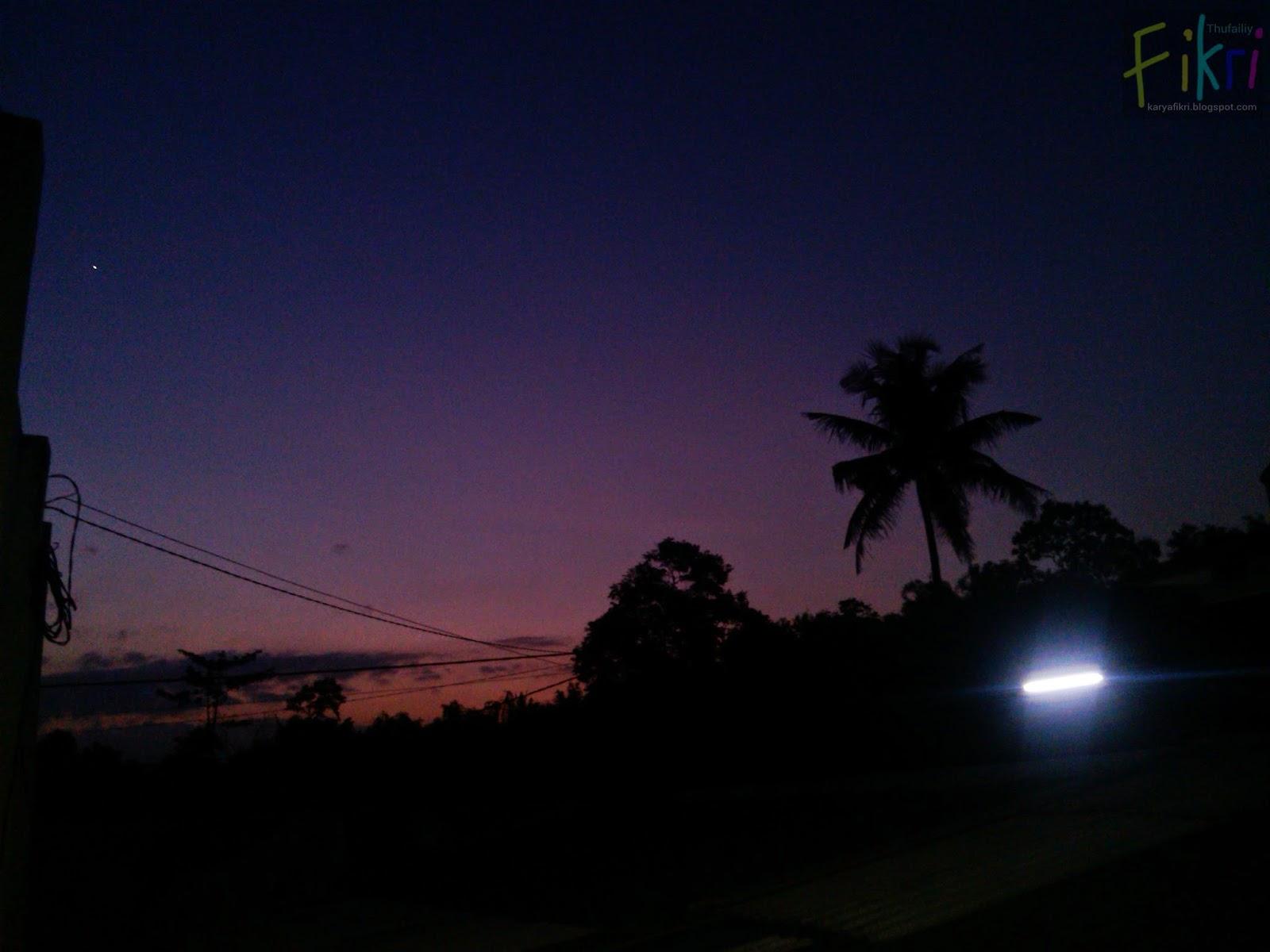Review hasil jepretan Huawei Ascend G600 (foto langit saat matahari terbenam) - oleh karyafikri.blogspot.com + flash