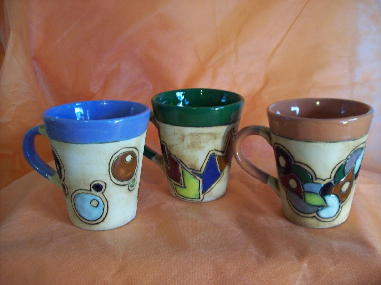 Juego de tazas ceramica artesanal melipal for Modelos de tazas