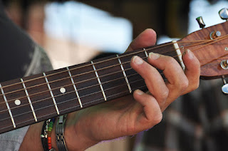Close up of hand playing resonator guitar strings