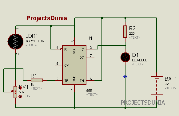Automatic Street Light Controller Circuit Using LDR And 555 Timer IC ...