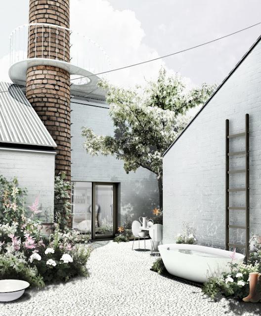 Дом с ванной во дворе