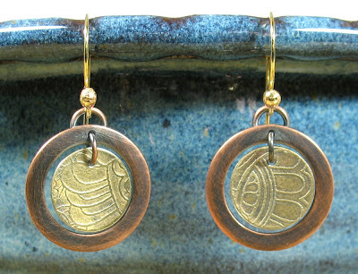 Libellula Jewelry:  Etched brass & copper earrings
