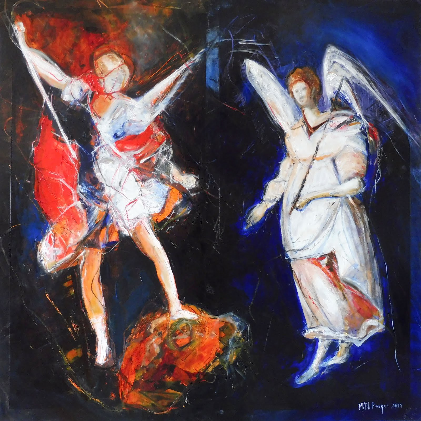 L'Ange Gabriel et l'Ange Michel - 80 x 80 cm - 2019