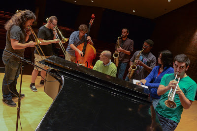 The UConn Jazz Tentet, practicing improvisation.