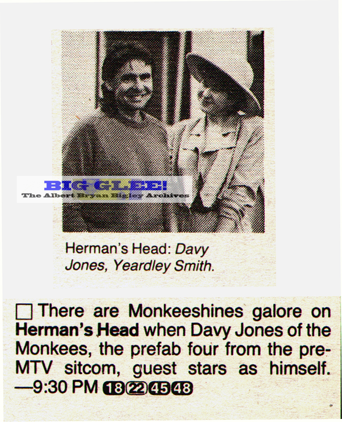 Who remembers the 1992 FOX show, HERMAN'S HEAD? Davy did a short guest ...