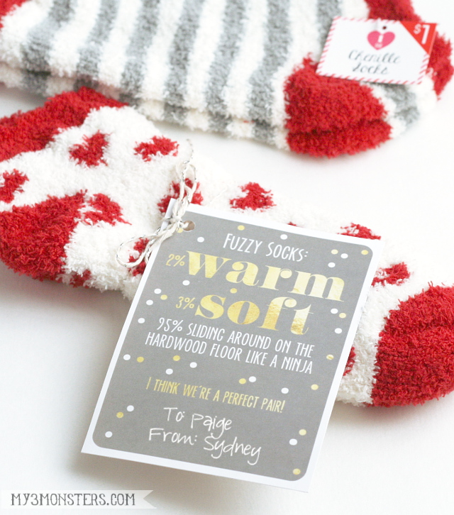 Super cute!!  Free printable Fuzzy Sock Valentines from my3monsters.com