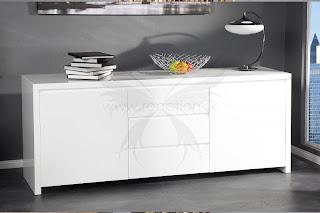luxusna dizajnova komoda, luxusny nabytok v bielej farbe