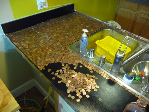 Penny kitchen counter for Copper penny bar top