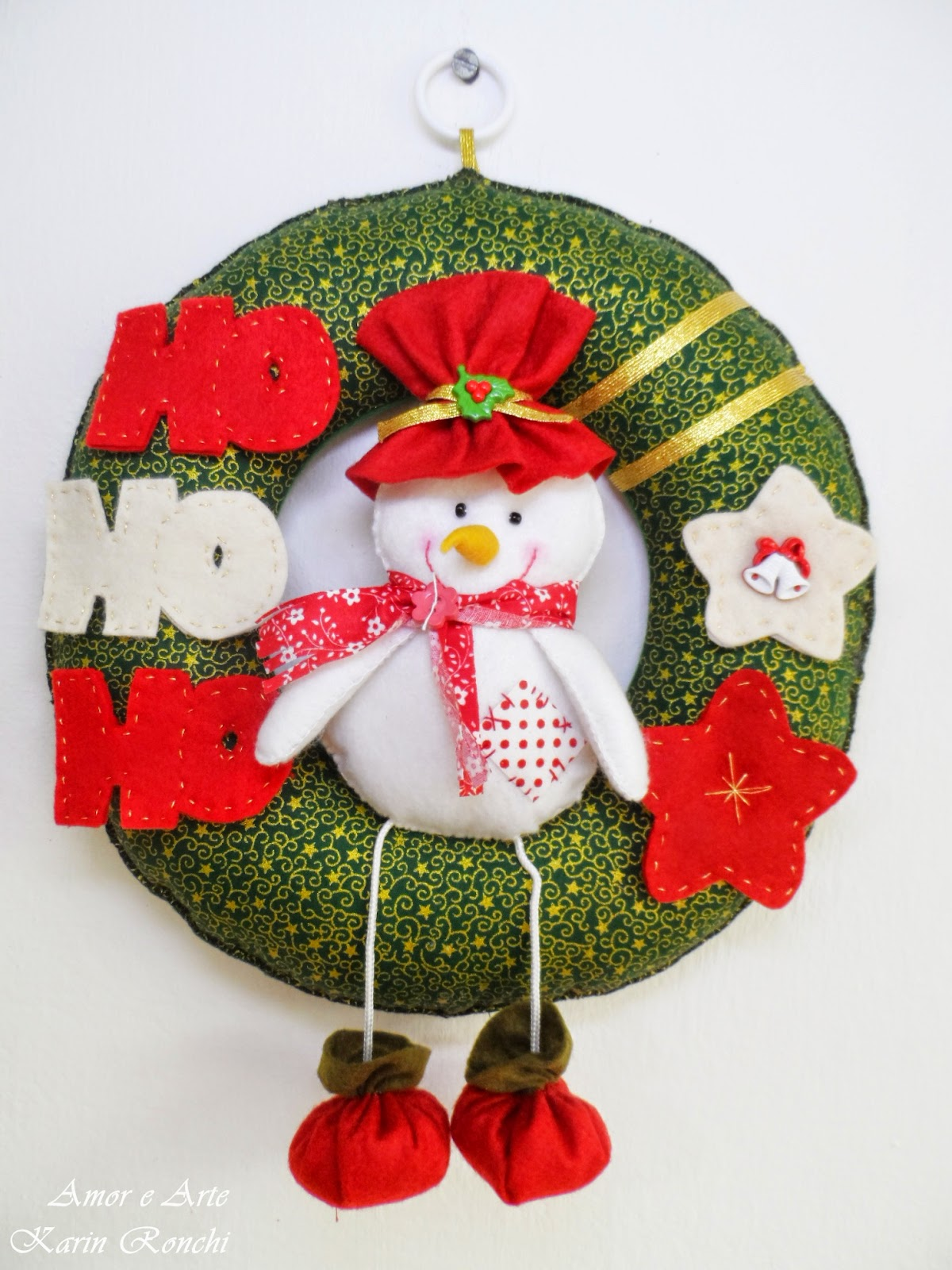 Guirlandas de Natal, em feltro e tecido - Boneco de Neve (verde e vermelho)