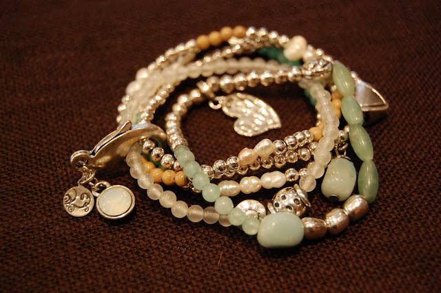 Silver & Green Multi Strand Bracelet, Villancher