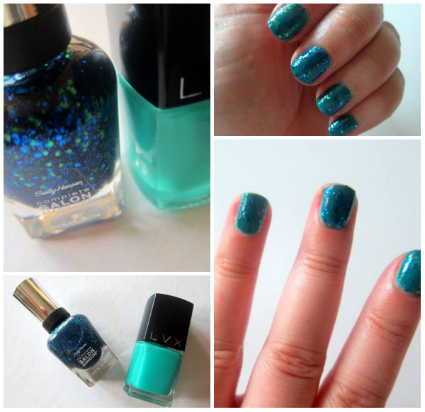 Sally Hansen Mermaids Tale and LVX Viridian Nail Polish Swatches