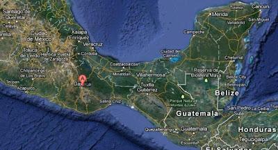 Epicentro sismo 5,7 grados, Oaxaca, México, 29 de Septiembre 2012