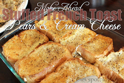 stuffed french toast, recipe, make ahead, pears, cream cheese, rosemary, powdered sugar, brunch