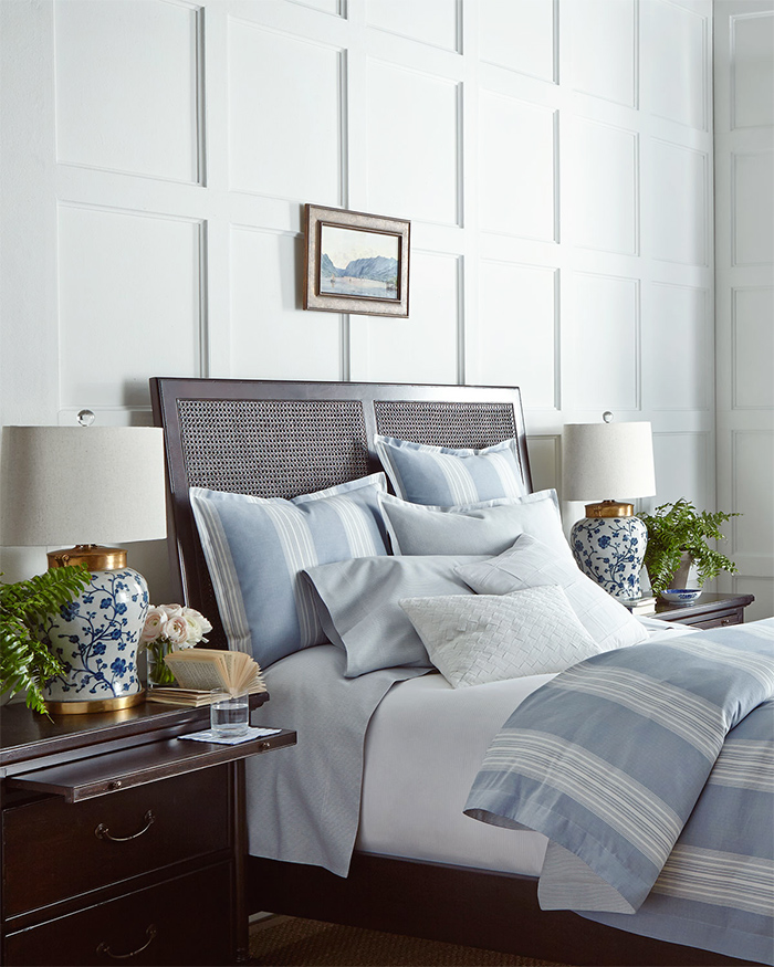 Clean and Classic:  Blue and White Stripes Work Beautifully for Bedrooms