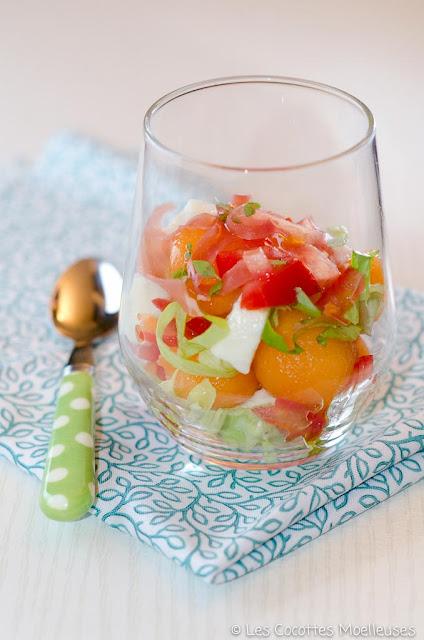 recette verrine melon mozzarella