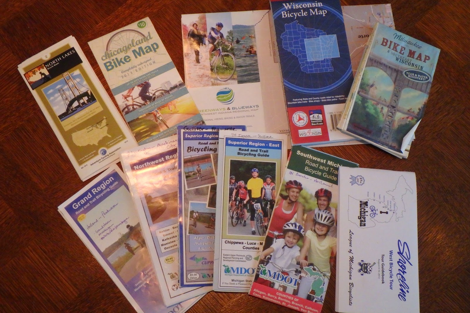 my collection of lake michigan bicycle maps