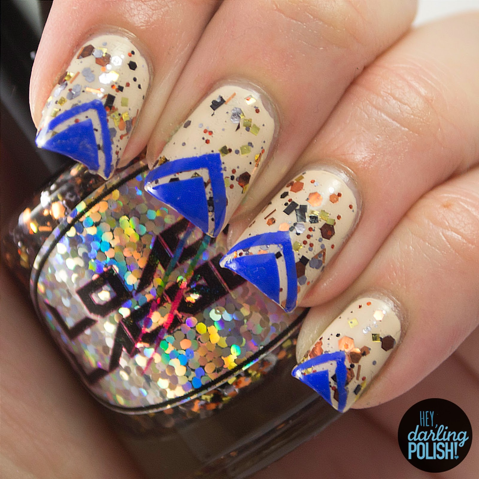 nails, nail art, nail polish, polish, indie, indie polish, indie nail polish, loaded lacquer, hey darling polish, triangles, blue, the never ending pile challenge, tgpnpc