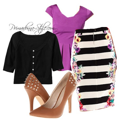 Bisou Bisou Mirror Print Pencil Skirt Zigi Soho Landing Old Navy Cardigan Charlotte Russe Pleated Peplum Crepe Top