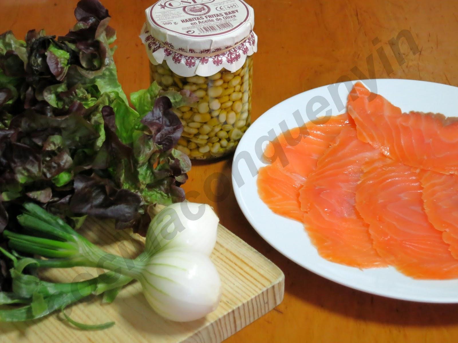 Cocina con quenyin ensalada de habitas con salm n ahumado - Ensalada de habitas ...