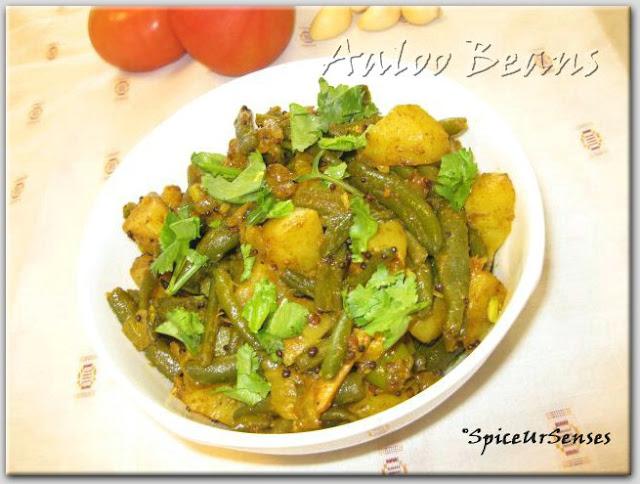 Aaloo Beans Ki Sabji (Potato-Beans Stir Fry)