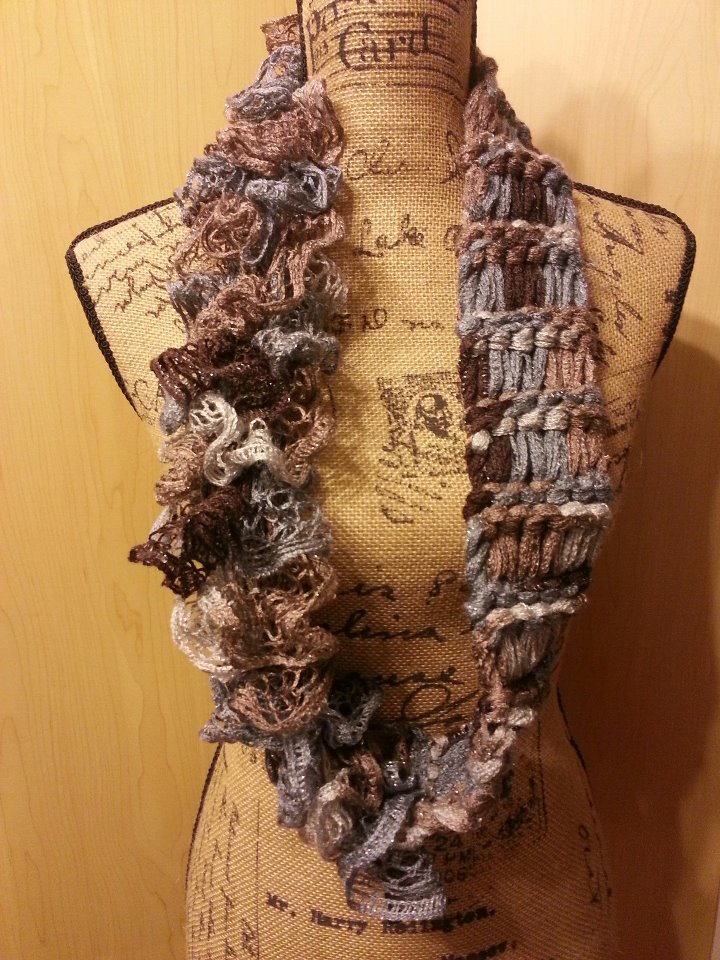 Sashay Ruffle Scarf Knit Pattern : String Theory Fiber Works: Loom Knit Drop Stitch Ruffle Infinity Scarf
