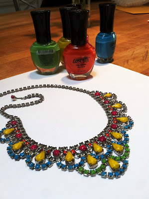 Neon Painted Vintage Rhinestone Necklace - Tutorial