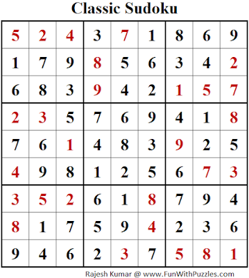 Answer of Classic Sudoku (Fun With Sudoku #104)